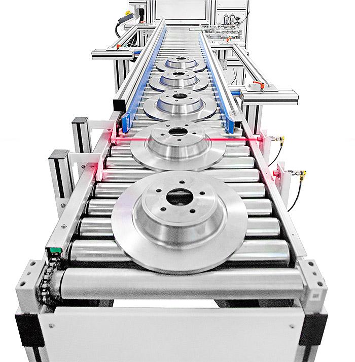 Sensori-Inizio-Linea Специальная лазерная система с двойной камерой и моторизованным роликовым конвейером для автомобильной промышленности