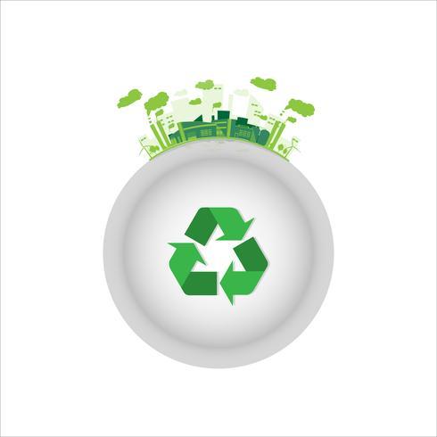 558564-fabbrica-industriale-ecologia-con-simbolo-di-riciclo-verde-vettoriale Лазерная гравировка в литейной промышленности